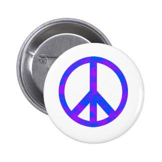 Blue Purple Abstract Peace Symbol Button