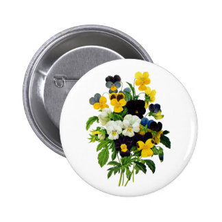 Blue Purple and Yellow Pansies By Redoute Pinback Buttons