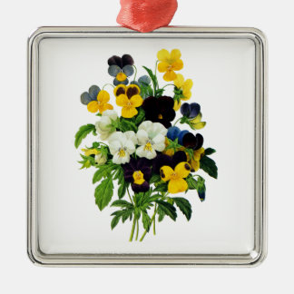 Blue Purple and Yellow Pansies By Redoute Silver-Colored Square Decoration