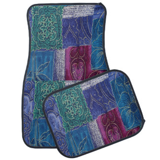 Blue Purple Aqua Patchwork Set of Car Mats