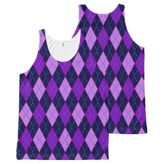 Blue Purple Argyle Pattern All-Over Print Singlet