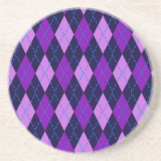 Blue Purple Argyle Pattern Coaster