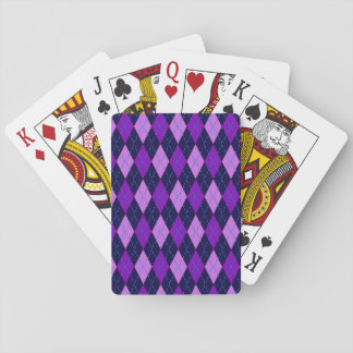 Blue Purple Argyle Pattern Playing Cards