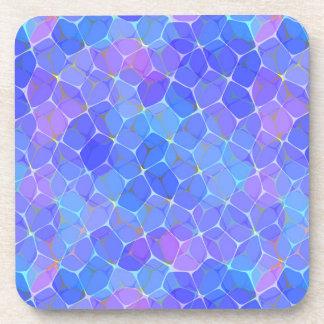 Blue Purple Art Glass Pentagon Monogram Coasters
