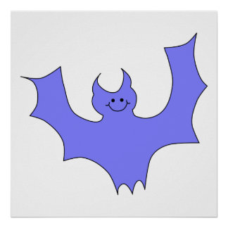 Blue - Purple Bat Cartoon Posters