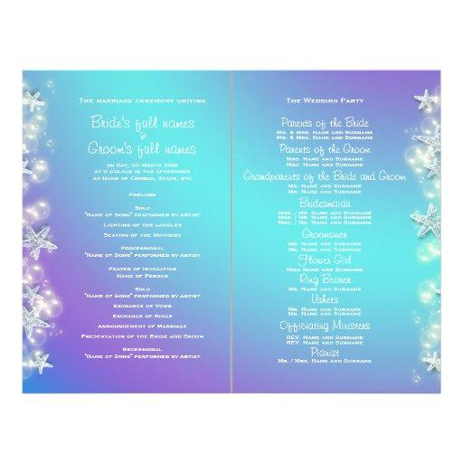 Blue purple beach starfish wedding flyer design