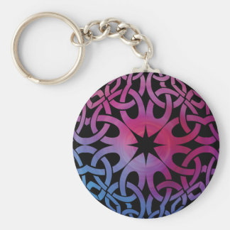 Blue Purple Celtic knot circle Button Keychain