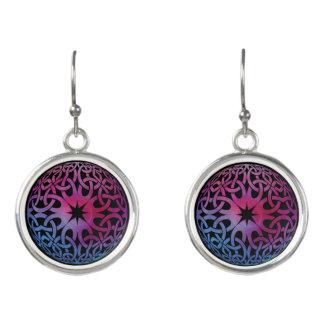 Blue Purple Celtic knot circle Earrings