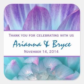 Blue Purple Dahlia Flower Wedding Thank You 004F Square Sticker