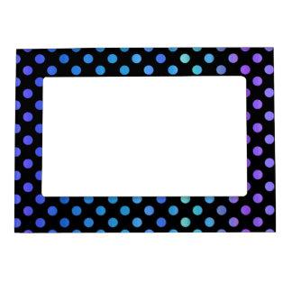 Blue Purple Dots on Black Frame Magnet