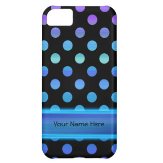 Blue Purple Dots on Black iPhone 5C Case