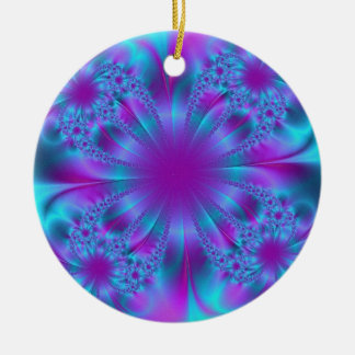 Blue purple fractal illustration christmas ornaments