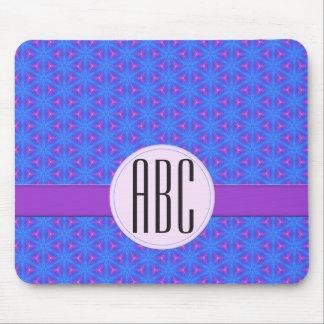 Blue Purple Geometric Personalized Monogram Mouse Pad
