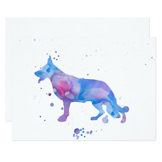 Blue Purple German Shepherd Watercolor Dog Card