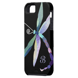 Blue, Purple, Green Dragonfly Monogram iPhone 5