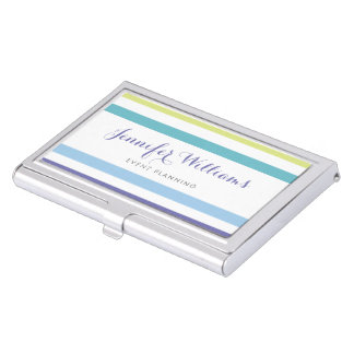 Blue Purple Green Stripes Business Card Holder