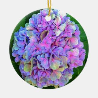Blue Purple Hydrangea Flower Round Ceramic Decoration