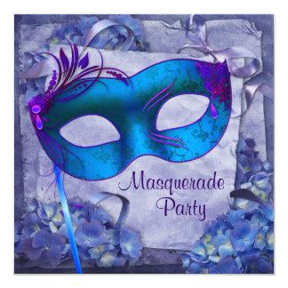 Blue Purple Hydrangea Masquerade Party Invitations