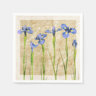 Blue Purple Iris Flowers Brown Background Floral Paper Napkin