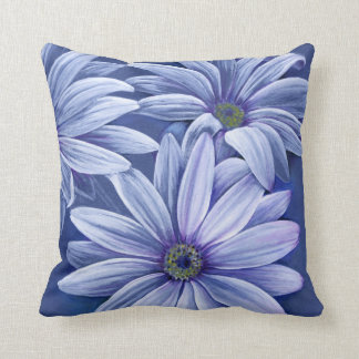 Blue purple lilac daisy osteospermum throw pillow throw cushions