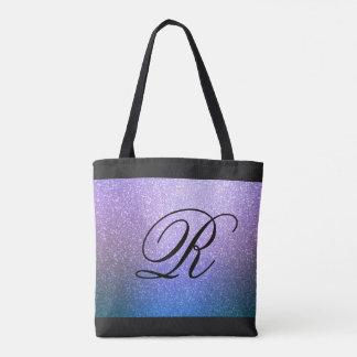 Blue Purple Ombre Glitter Design with Monogram Tote Bag