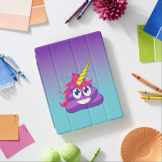 Blue & Purple Ombre Unicorn Poo Emoji iPad Cover