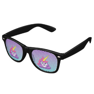 Blue & Purple Ombre Unicorn Poo Emoji Retro Sunglasses