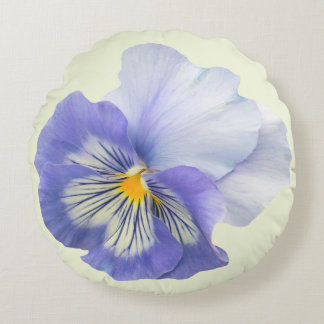 Blue Purple Pansy Pale Yellow Throw Pillow