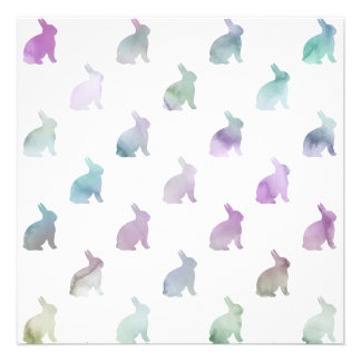 Blue Purple Pastel Watercolor Bunny Background 13 Cm X 13 Cm Square Invitation Card