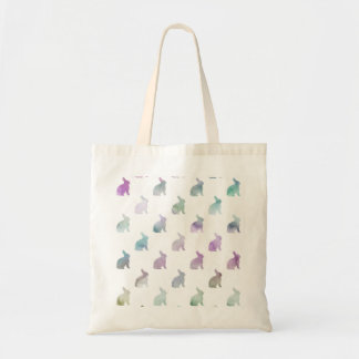 Blue Purple Pastel Watercolor Bunny Background Budget Tote Bag