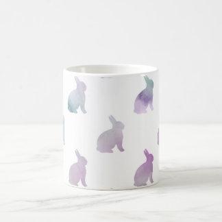 Blue Purple Pastel Watercolor Bunny Background Coffee Mug
