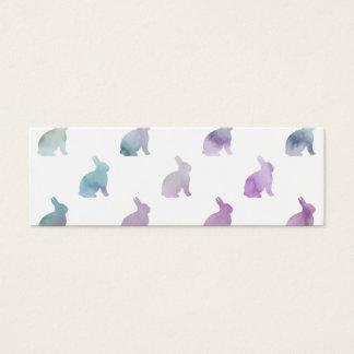 Blue Purple Pastel Watercolor Bunny Background Mini Business Card