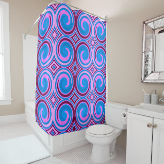 Blue Purple Pink Abstract Swirl Pattern Shower Curtain