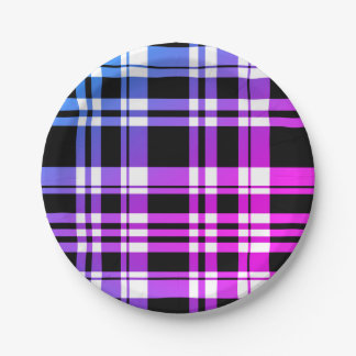 Blue purple pink and  White Plaid Paper Plate