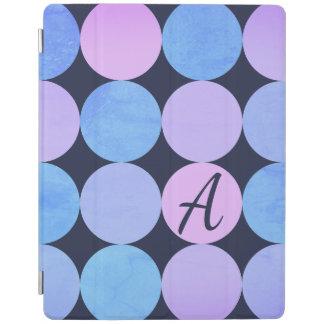Blue Purple & Pink Circles Monogram iPad Cover