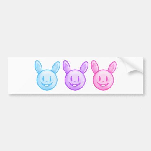 Blue Purple Pink Easter Bunnies Bumper Stickers