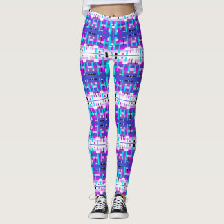 Blue Purple Pink & White Computer Confetti Print Leggings