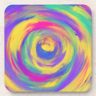Blue Purple Pink Yellow Spiral Abstract Art Design Coaster