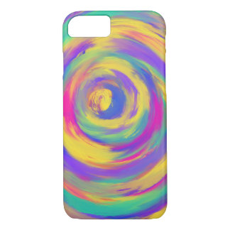 Blue Purple Pink Yellow Spiral Abstract Art Design iPhone 8/7 Case