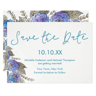 Blue Purple Rose Floral Watercolor Save the Date Card