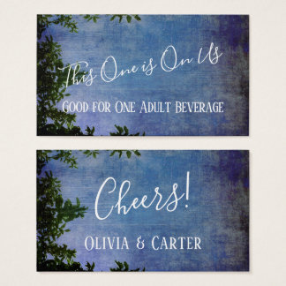 Blue & Purple Rustic Vintage Drink Tickets