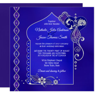 Blue Purple Silver Henna Mehndi Wedding Invitation