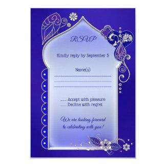 Blue Purple Silver Henna Tattoo RSVP Card