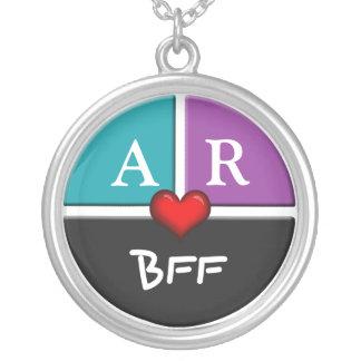 Blue & Purple Slice Round BFF Friendship Necklace