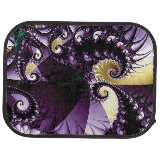 Blue-purple Spiral Fractal with Spikes Floor Mat