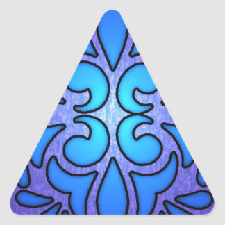Blue Purple Stainded Glass Style Design Triangle Sticker