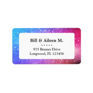 Blue purple starry galaxy sky address label