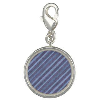 Blue Purple Texture Stripe Round Charm