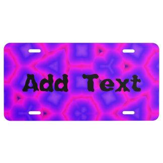 Blue purple trendy pattern license plate
