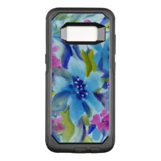 Blue & Purple Trendy Watercolors Flowers OtterBox Commuter Samsung Galaxy S8 Case